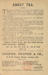 Advert for Cooper, Cooper & Co, tea, reverse side